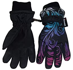 N\'Ice Caps Little And Big Girls Ombre Shaded Scroll Print Ski Gloves (13-15yrs, black/silver neon/neon blue/neon purple/neon pink)
