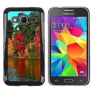 Caucho caso de Shell duro de la cubierta de accesorios de protección BY RAYDREAMMM - Samsung Galaxy Core Prime - Nature Beautiful Forrest Green 79