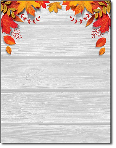 Fall Leaves over Wood Stationery Paper - 80 Sheets - Autumn Letterhead for Festivals & Thanksgiving -