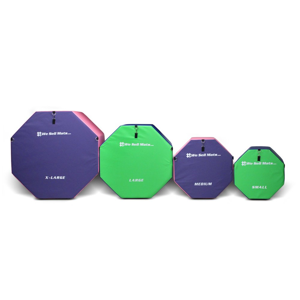 We Sell Mats OCT2024SM-LMGBL Small 20'' x 24'' Gymnastics Octagon Skill Shape Lime Green & Blue