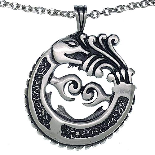 Ohdeal4U Ouroboros Dragon Serpent Aztec Mayan Norse Viking Pewter Charm Pendant w Stainless Steel Necklace