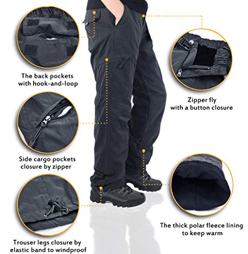 ccbb00b7 Exeke Men's Relaxed-Fit Cargo Pants Thermal Ski Pants Lined Dungarees  Winter Outdoor Tactical Pant