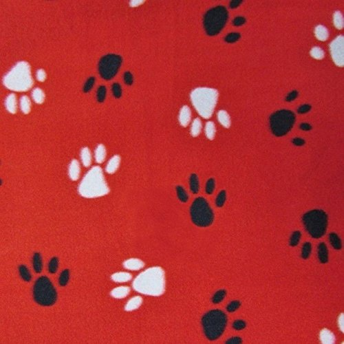 White and Black Paws on Red Print Fleece Fabric - 2 - Fleece Large Paw Print