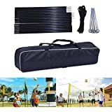 Four Square Volleyball Net Set, 4-Sided Cross Volleyball Net Pole, Sports Supplies Durable Four-Person Volleyball Training Portable Four Square Pole Set for Beach Outdoors Backyard (No Include Net)