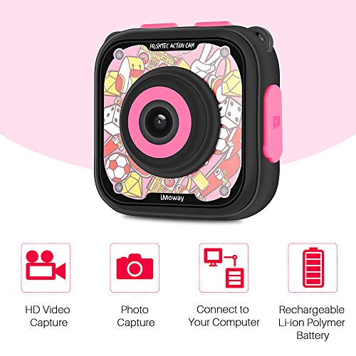 Kids Camera, iMoway Waterproof Video Cameras for Kids HD 1080P Kids Digital Cameras Camcorder with 16GB Memory Card, Card Reader and Floating Hand Grip (Pink) by iMoway (Image #2)