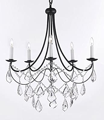 "Empress Crystal (tm) Wrought Iron Chandelier Chandeliers Lighting H.22.5"" x W.26"""
