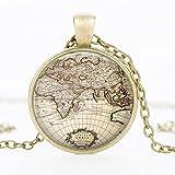 Reloj de bolsillo con diseño de mapa antiguo con piedras preciosas de la hora, 7, 51cm (inclusive) -80cm (inclusive)