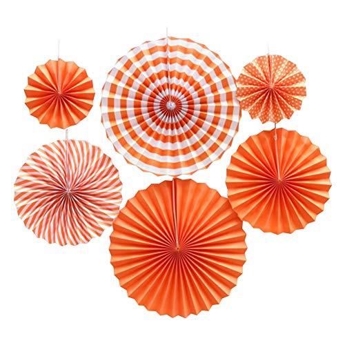 youta Hanging Paper Fans Kit Decor Folding Art Tissue Paper Fans Party Festival Wedding Home Decoration Orange Stripe ()
