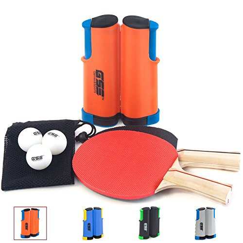 GSE Games & Sports Expert Anywhere Portable Ping Pong Table Tennis Set to Go - Includes Retractable Net & Post, 2 Paddles & 3 Ping Pong Balls (4 Colors) (Orange)