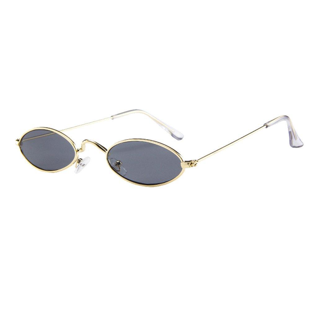 AMOFINY Fashion Glasses Mens Womens Retro Small Oval Sunglasses Metal Frame Shades Eyewear