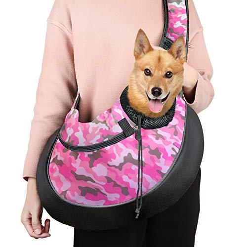 Pink Camo Pet Carrier - Pet Sling Carrier Bag, Hand-Free Dog Cat Outdoor Travel Shoulder Bag with Adjustable Strap& Zipper (L, Pink Camouflage)
