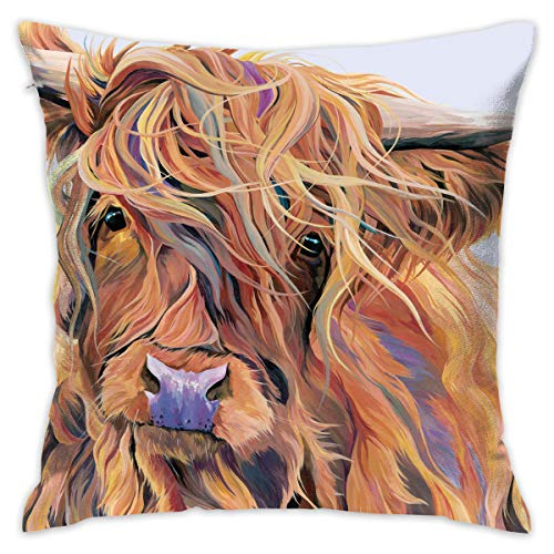 Linxher Highland Cow Windy Day Country Decorative Throw Pillow Modern Square Form Stuffer for Couch Sofa Or Bed Set Cozy Home Decor 16