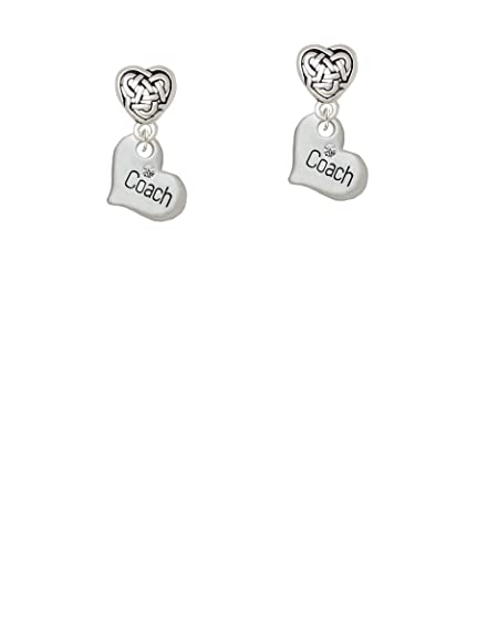 b180fa5a9 Image Unavailable. Image not available for. Color: Small ''Coach'' Heart - Celtic  Heart Earrings