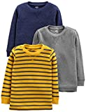 Simple Joys by Carter's Camisas térmicas de Manga Larga para niños pequeños 3 Unidades, Gray/Yellow Stripe/Navy, 3T