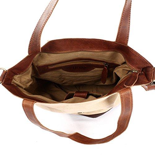 et C dames dames pour à pour LE0053 moka 38x35x11cm Sac look main LECONI de Vintage en bandoulière toile à Large beige sac Sac shopping cuir AqnBvIU
