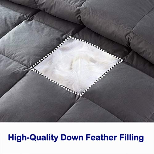 DOWNCOOL 100% Cotton Quilted Down Comforter with Corner Tabs - Goose Duck Down Feather Filling - Lightweight and Medium Warmth Box Stitched All-Season Duvet Insert (Twin,68x90Inches, Gray)