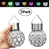 YOUDirect Solar Hanging LED Lights - 3 Pack Outdoor Solar Powered Globe Lights Decorative Hanging Light 7 Color Changing Waterproof Lantern Pathway Landscape Light for Garden Yard Patio