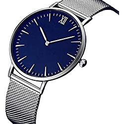 Women's Minimalist Watch, Clearance Woman Ladies Fashion Dress Analog Quartz Wrist Watches on Sale Milanese Mesh Bracelet Band Strap Adjustable Pin Buckle (silver)