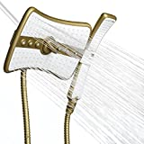 AKDY 9' Rectangular Quad Function Rainfall Jet Shower Head & Wand Combo In Gold