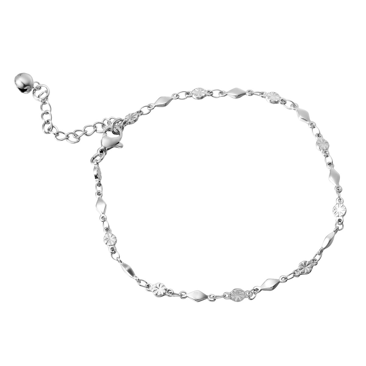 HooAMI Stainless Steel Silver Flower Bead Link Chain Anklet Adjustable 22cm+4cm TY BETY106659
