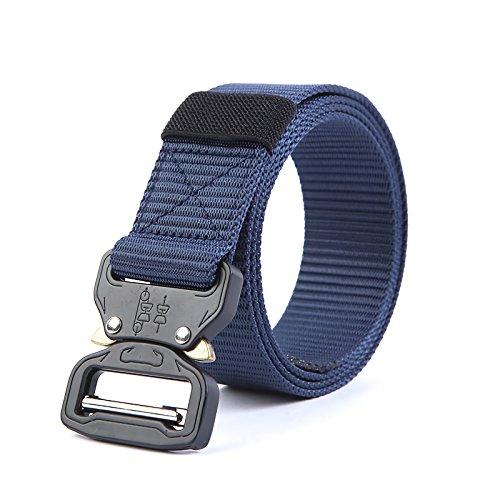 Lifreak Tactical Belt Cobra Buckle Style Heavy Duty Nylon Belts (Navy) Flashlight Foregrip Mount