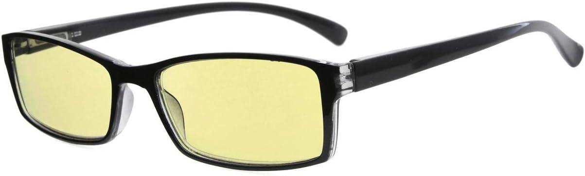 Black Eyekepper Blue Light Blocking Eyeglasses Men Women with Yellow Filter Lens Comfort Computer Glasses