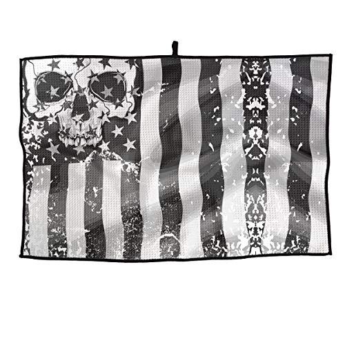 (Eplus Waffle Microfiber Golf Towel Light Weight & Quick Drying Retro Skull USA Black Flag Cart Towel 15