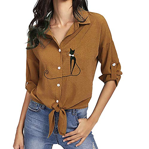 UONQD Women Tops Embroidered Cat Knotted Hem Shirt Long Sleeve Blouse Button (Large,Gold)