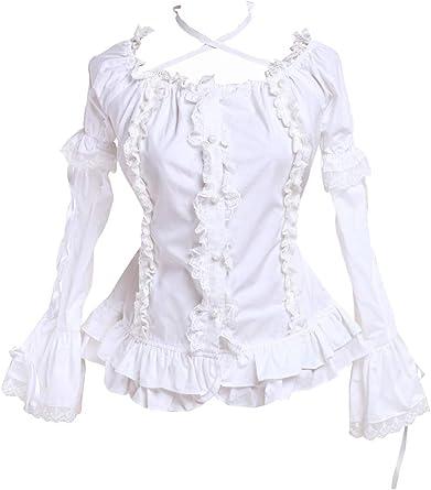 an*tai*na* Blanca Algodón Volantes Encaje Sexy Low Collar Kawaii Lolita Camisa Blusa de Mujer: Amazon.es: Ropa y accesorios