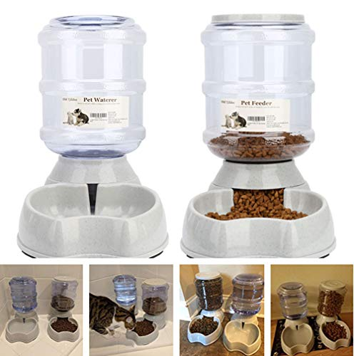 Blessed family Cat Water Fountain,Automatic Cat Feeder,Dog Water Dispenser,1 Gal Pet Automatic Feeder Waterer (Waterer+Feeder)