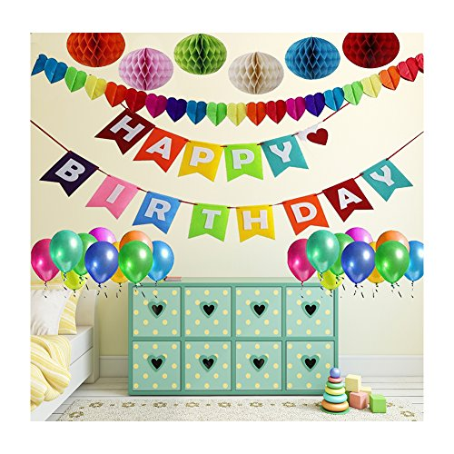 Birthday Decor,Birthday Party Decoration,1 Birthday Banner+ 6 Pack Honeycomb Balls + Colorful Heart-shape Garland + 10 Balloons for (Shape Of A Honeycomb)