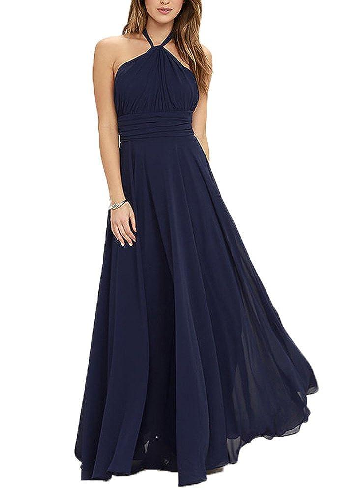Fanciest Womens Halter Chiffon Long Bridesmaid Dresses Navy Blue