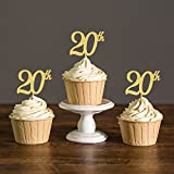 Areena Shop 20th Anniversary Cupcake Toppers, Twenty Birthday Party Decoration Favors Cake Decorations Food Picks