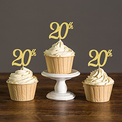 Areena Shop 20th Anniversary Cupcake Toppers, Twenty Birthday Party Decoration Favors Cake Decorations Food Picks by Areena Shop