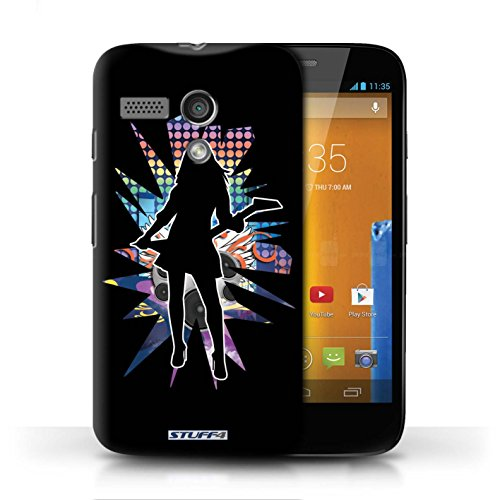 Etui / Coque pour Motorola MOTO G (2013) / Rock Dame Noir conception / Collection de Rock Star Pose