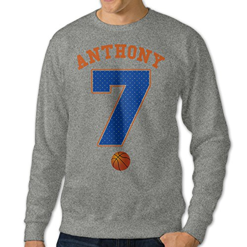 BestGifts Men's New York #7 Basketball Melo Crew Neck Sweatshirts Ash Size S