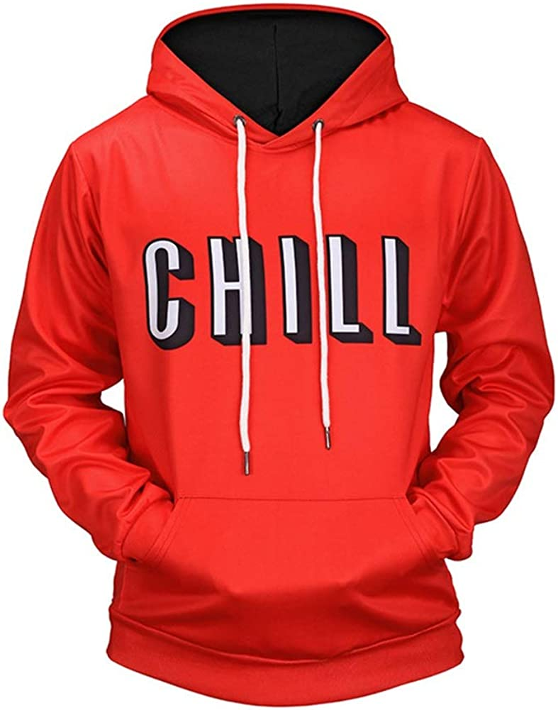 Eveliyning Men Teens Spring Fall Long Sleeve 3D Letter Print Hooded Loose Sweatshirt Color : L6578, Size : XL