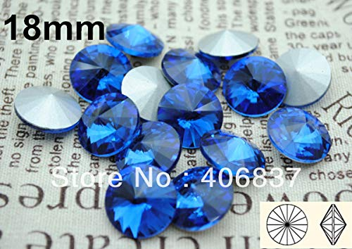 Maslin 100pcs/Lot, 18mm Sapphire Crystal Rivoli, Chinese Top Quality Crystal Rivoli