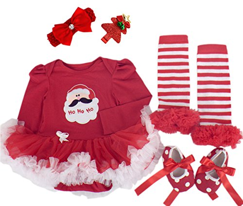 [Baby Girls Christmas Outfit Newborn Infant My First Christmas Tutu Dress Set 5PCs (Small (3-6 months), Red (Long Sleeve] (Christmas Outfits Baby)