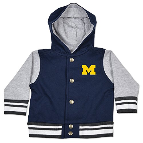 - College Kids NCAA Michigan Wolverines Children Infant Letterman Jacket, 6 Months, Navy/Oxford