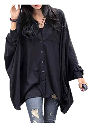 a5db484e ARJOSA Women's Oversized Batwing Sleeve Button-Down T-Shirt Blouse Loose Top  (Black