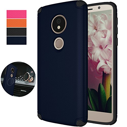Moto G6 Play Case (NOT FIT Moto G6),Moto G6 Forge Magnetic Car Case,NiuBox Armor Gear Textured Slim Fit Anti-Slip Shock Absorption Protective Phone Case Cover for Motorola G6 Play (2018) (Navy Blue)
