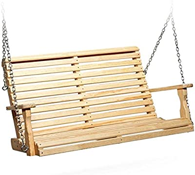 Leisure Lawns Amish Made Yellow Pine Roll Back Porch Swing Model #415 - Ships Free Within 2 to 3 Weeks