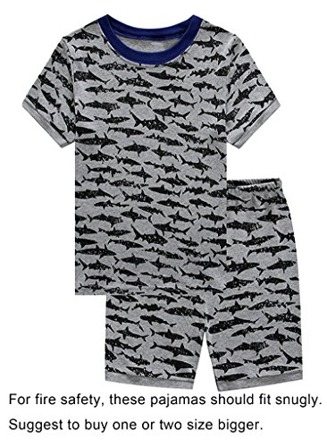 Family Feeling Shark Little Boys Shorts Set Pajamas 100% Cotton Sleepwear Toddler Kid Size - Pajamas Boys Size 4 Set