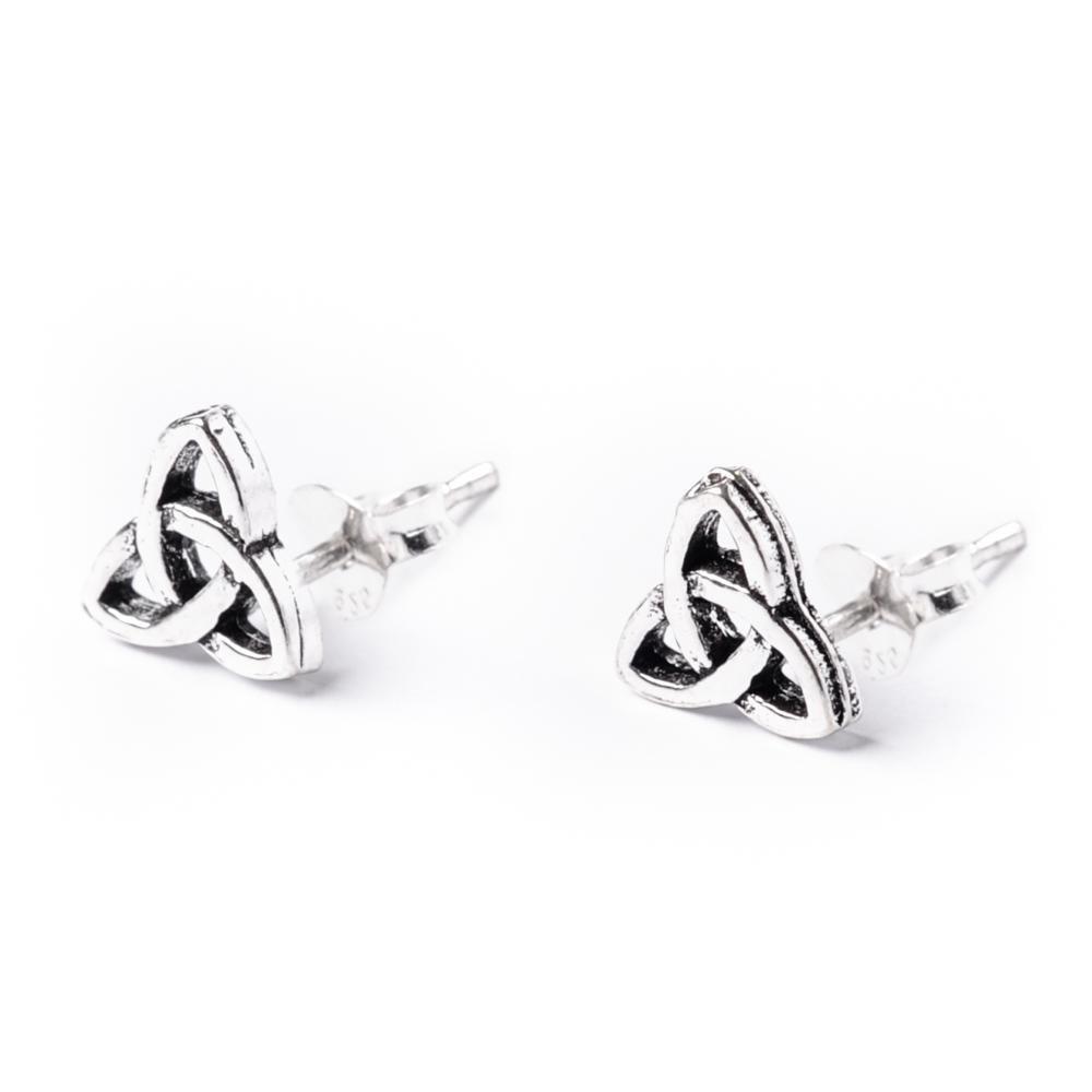 81stgeneration Women's .925 Sterling Silver Celtic Trinity Knot Stud Earrings