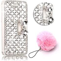ZTE Grand X Max 2 /ZMax Pro Case,Vandot Luxury 3D Diamond Bling Crystal Rhinestone Wallet Case With Card Slots PU leather Magnetic Closure Flip Stand Cover Skin +Lovely Pompon Ball Pendent-White