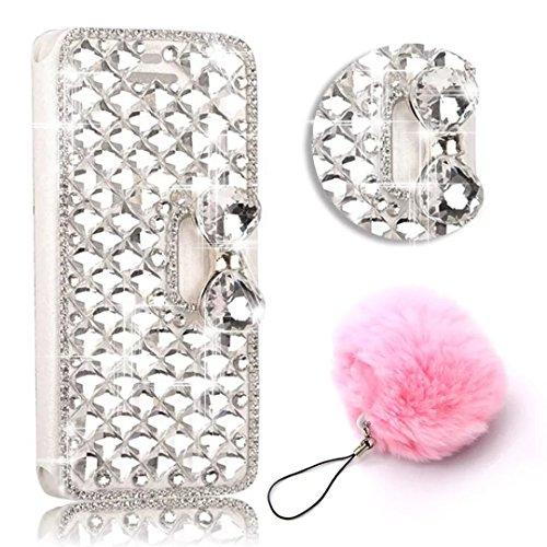Cheap Bling Diamond for Galaxy S8 Plus Case,Vandot Glitter Flip Folio Case Magnet Kick Stand Premium PU Leather Rhinestone Sparkle Wallet Case Shock-Absorbing Full-body Protective Cover+Furry Pompom Pendent