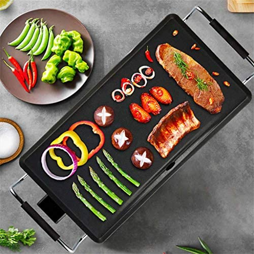 Gril De Table électrique Teppanyaki Barbecue Griddle Non-Stick Avec Température Réglable Pour Intérieur Extérieur 2000la -53 * 24CM