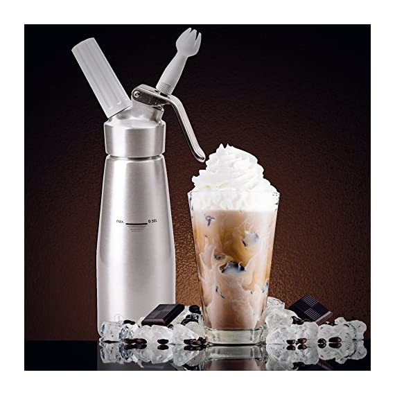 Professional Whipped Cream Dispenser Aluminum Cream Whipper, Durable Stainless Steel Coffee Spoon, 3 Decorating Nozzles, Charger Holder, Cleaning Brush and Instruction Manual Included - 1 Pint 2 USEFUL KITCHEN TOOL THAT MAKES YOUR LIFE EASIER! As someone who likes to indulge her loved ones, now with our chef quality 1-pint cream whipper, making delicious and gorgeous desserts is faster and easier than ever. DISPENSE BEAUTIFUL AND TASTY TOPPINGS FOR ANY DISH! We know that being able to pamper your loved ones is incredibly important to you. At Gorgeous Kitchen, we believe in premium materials, top performance, and perfection in design. We promise to only provide you with the best so next time you wonder what special dish you are going to prepare, the deciding will be that much easier. NIFTY GIFT BOX PACKAGING: This top-notch kitchen gadget comes in a nice gift box, which includes the cream whipper, 3 decorating nozzles, a charger holder, a stainless steel spoon, a cleaning brush, and an instruction bulletin. This makes a fantastic holiday or wedding gift!