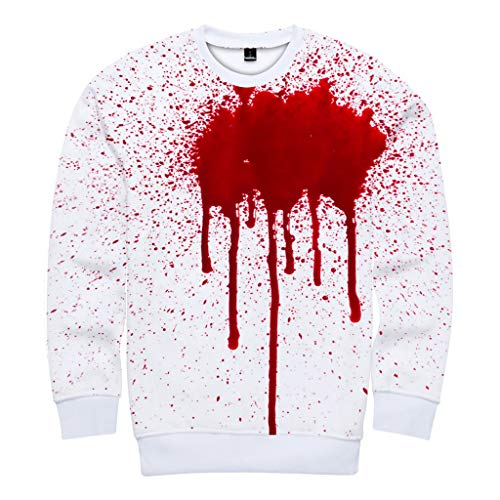 KLFGJ New Hot Pullover Women and Men Scary Halloween 3D Printed Party Long Sleeve Hoodie Sweatshirt Top Red]()